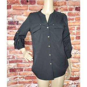 VGC Calvin Klein Black Button Up Blouse Small
